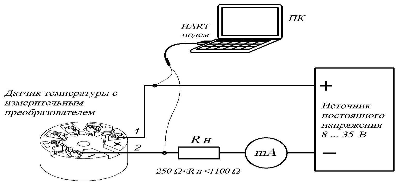 Схема подключения датчиков температуры с измерительным преобразователем